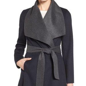 Michael Kors Two-Tone Wool Blend Wrap Coat.